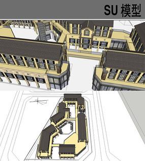 中式古建商业街模型