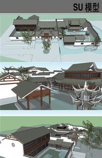 中式四合院古建SU模型