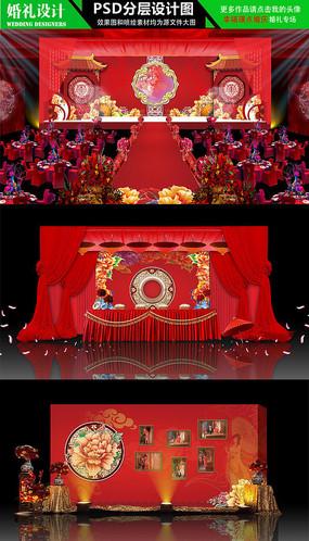 大红色牡丹中国红主题婚礼设计