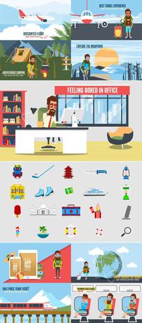 卡通人物旅游度假游玩宣传模板
