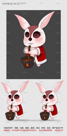 玉兔捣药插画设计