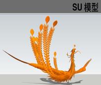 3D动物凤凰SU模型 skp