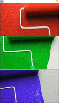 彩色油漆滚筒实拍视频素材