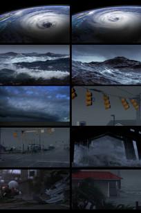 海边海啸恶劣天气自然灾害视频
