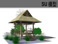 景观休闲草亭SU模型