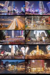 经济发展城市唯美夜景视频