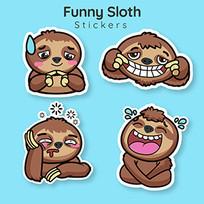 卡通动物懒惰表情插图