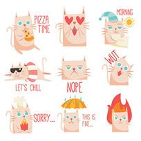 可爱的猫表情贴纸 AI