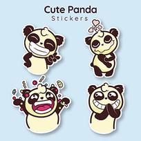 可爱的熊猫贴纸图案