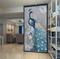 孔雀花瓶富贵玄关背景装饰画