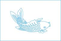 鲤鱼线描雕刻图案