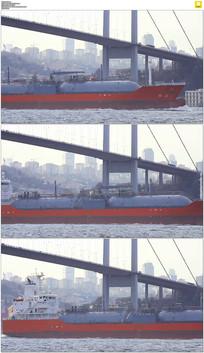 轮船驶过桥梁底下实拍视频素材