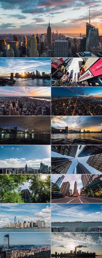 美国城市纽约大范围移动延时视频