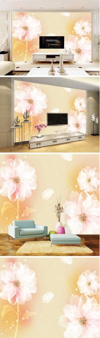 梦幻透明花花瓣背景墙