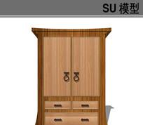日式实木衣柜模型