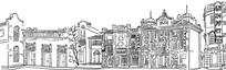 石库门上海老建筑矢量线稿