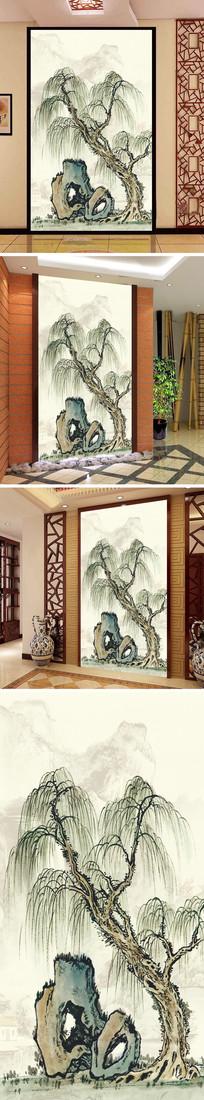 水墨画柳树玄关背景墙