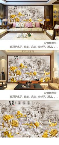 松鹤延年木雕背景墙