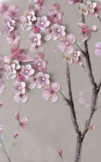 新中式浮雕室内桃花玄关背景墙