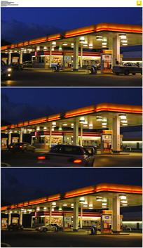 夜间加油站延时摄影视频素材