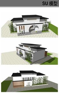 中式风格公共厕所模型