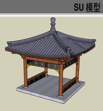 中式庭院亭子SU模型