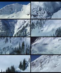 自然灾害雪山崩裂雪崩视频