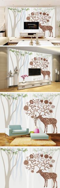 抽象树麋鹿花朵树叶背景墙