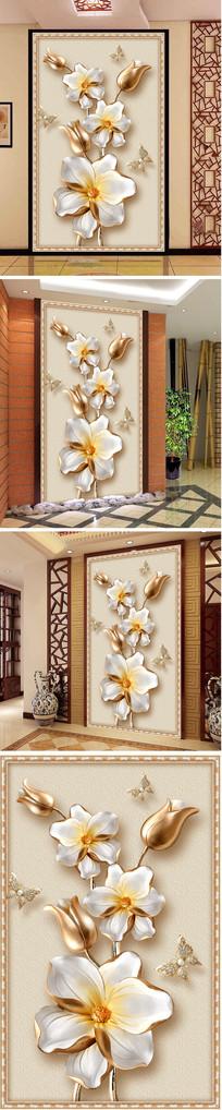 浮雕金色花朵蝴蝶玄关背景墙
