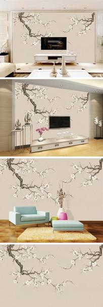 工笔画桃花花枝背景墙