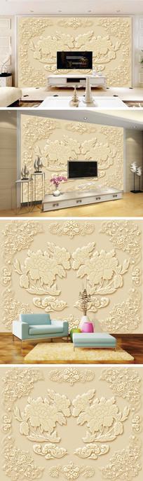 金色浮雕牡丹花边背景墙