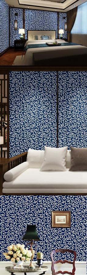蓝色花纹墙纸