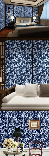 蓝色花纹墙纸 AI