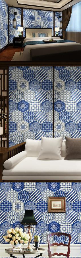 蓝色菱形花纹墙纸
