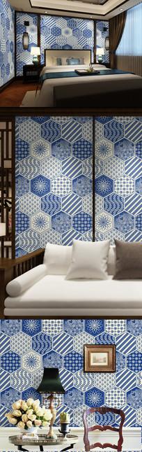 蓝色菱形花纹墙纸 AI