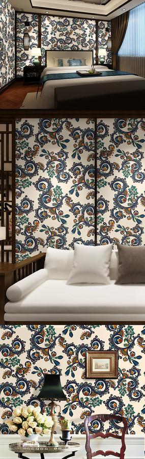 欧式花纹墙纸壁纸