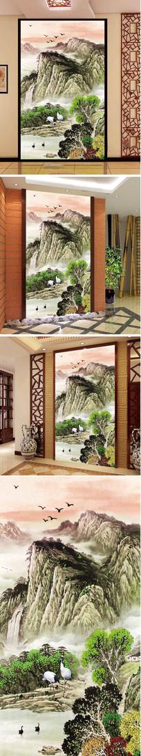 山水瀑布仙鹤玄关背景墙