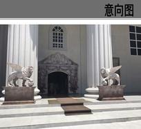 石狮雕塑小品