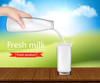 手持牛奶瓶倒入杯中淘宝主图