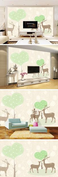 手绘爱心树麋鹿底纹背景墙