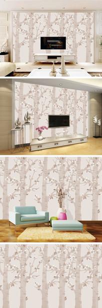 现代简约树林花朵背景墙