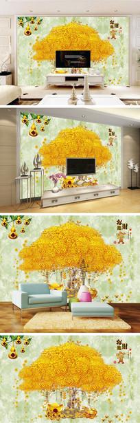 招财进宝发财树葫芦背景墙