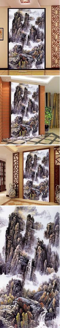 中式山水瀑布山林玄关背景墙