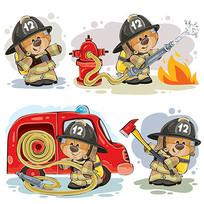 做一个消防员的泰迪熊素材 EPS