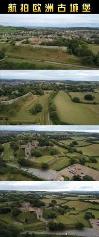 航拍欧洲古城堡动态视频