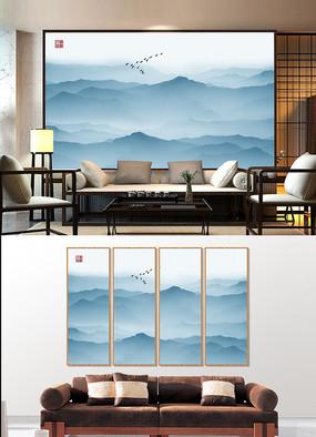 蓝色水墨装饰画背景墙