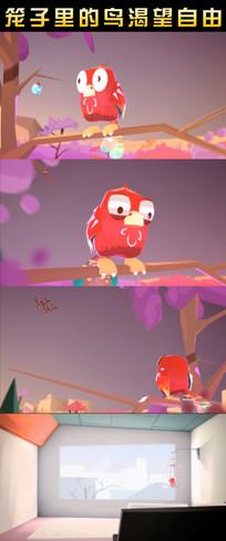 笼子里的鸟渴望自由动态视频