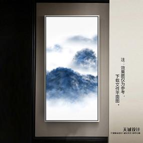 中式客厅竖版挂画模板