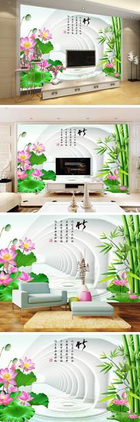 3D立体空间竹子荷花背景墙