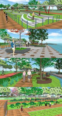 滨水休闲步道广场SU模型